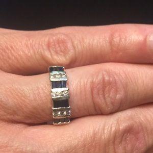 14K white gold genuine sapphire & diamond band
